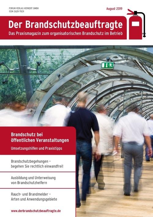 Ausgabe August 2019<br>Brandschutz öffentlichen Veranstaltungen